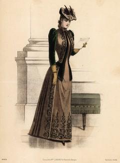 Роскошное приталенное платье с бархатным жакетом. Из французского модного журнала Le Coquet, выпуск 259, 1889 год
