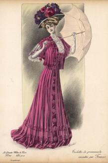 Платье цвета фуксии, шляпа, декорированная розами и фиалками, - наряд от Francis (Les grandes modes de Paris за 1907 год).