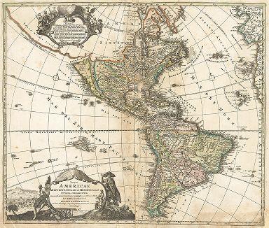 Северная и Южная Америка. Totius Americae Septentrionalis et Meridionalis. Составил Иоганн Баптист Гомманн, Нюренберг, 1710.