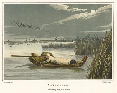 Охота с лодки на водоплавающую дичь. The National Sports of Great Britain by Henry Alken. Лондон, 1903