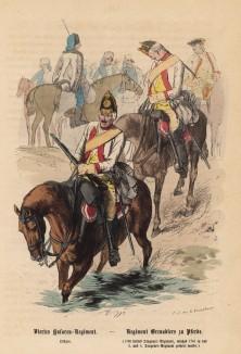 """Прусские конные гренадеры переходят реку вброд (иллюстрация Адольфа Менцеля к известной работе Эдуарда Ланге """"Солдаты Фридриха Великого"""", изданной в Лейпциге в 1853 году)"""