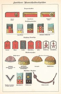 Знаки различия различных частей армии Германской империи конца XIX в. Die Heere und Flotten der Gegenwart. Deutschland. Das Heer. Берлин, 1896