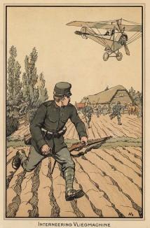 Интернирование германского аэроплана осенью 1914 г. . Из редкой брошюры Interneering Vliegmachine (голл.), изданной военным ведомством нейтральной Голландии зимой 1915 года