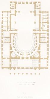 План III. Бельэтаж (из редкого альбома литографий Reconstruction du Grand Théâtre de Moscou dit Petrovski, посвящённого открытию Большого театра после реконструкции 20 августа 1856 года и коронации императора Александра II. Париж. 1859 год)