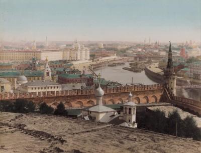 1900-е гг. Вид на Москву с территории Кремля (крашенный вручную тиражный вариант фотографии Петра Павлова (1860--1925))