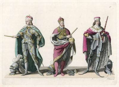 1. Карл V Габсбург (1500--1558) в императорском одеянии 2. Сигизмунд, эрцгерцог Австрии (1427--1496) с атрибутами герцогской власти 3. Архиепископ Зальцбурга Матиас Ланг фон Велленбург (1468--1540)