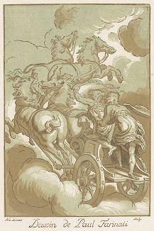 Колесница Солнца. Кьяроскуро Никола Лесюёра по оригиналу Паоло Фаринати. Лист из сюиты Recueil Crozat, 1729-40 гг.
