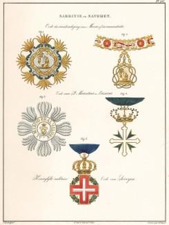 Высший орден Святого Благовещения (орден Аннунциаты. fig1,2) — высший орден Савойского дома. Кавалеры автоматически становились кавалерами Большого креста ордена Святых Маврикия и Лазаря (fig3,4). Военный крест Савойского дома (fig1,5). Амстердам, 1843