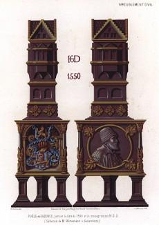 Надгробные украшения из фаянса XVI века c монограммой H.G.D. Коллекция М. Виттеманна из Гайзенхайма (из Les arts somptuaires... Париж. 1858 год)
