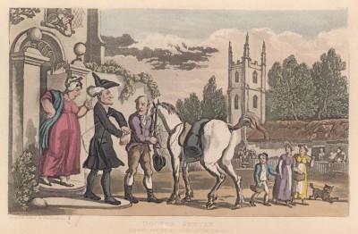 """Отбытие доктора Синтакса в поездку по озёрам. Иллюстрация Томаса Роуландсона к поэме Вильяма Комби """"Путешествие доктора Синтакса в поисках живописного"""", л.1. Лондон, 1881"""