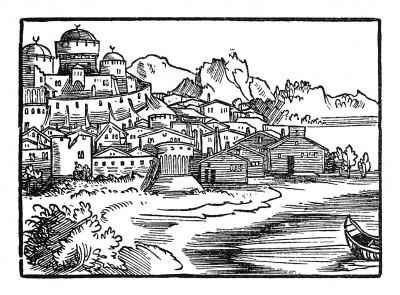 Вид Калькутты. Иллюстрация Йорга Бреу Старшего к описанию путешествия на восток Лодовико ди Вартема: Ludovico Vartoman / Die Ritterliche Reise. Издал Johann Miller, Аугсбург, 1515