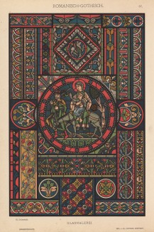 """Готический витраж (лист 37 альбома """"Сокровищница орнаментов..."""", изданного в Штутгарте в 1889 году)"""