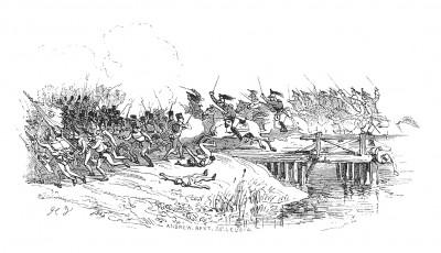 Австрийская кампания 1805 г. 7 октября на мосту через реку Лех происходит первый бой французов с австрийцами, знаменующий начало нового военного противостояния между Францией и Третьей коалицией. Histoire de l'empereur Napoléon. Париж, 1840