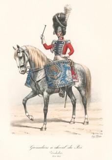 Литаврщик гвардейских конных гренадеров короля Франции в 1815 году. Histoire de la Maison Militaire du Roi de 1814 à 1830. Экз. №93 из 100, изготовлен для H.Fontaine. Том II, л.74. Париж, 1890