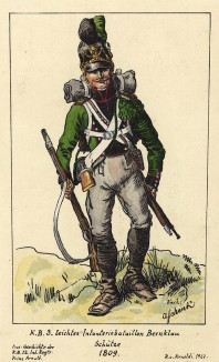 1809 г. Рядовой егерского полка Bernklau армии королевства Бавария. Коллекция Роберта фон Арнольди. Германия, 1911-29