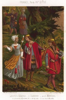 Рабочий и колхозница, горничная и музыканты наслаждаются загородной прогулкой в один из уикэндов XV века во Франции (из Les arts somptuaires... Париж. 1858 год)