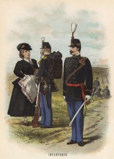 """Голландский пехотинец со """"своей"""" и унтер-офицер (иллюстрация к работе Onze krijgsmacht met bijshriften... (голл.), изданной в Гааге в 1886 году)"""