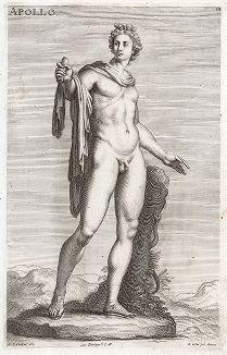 Аполлон Бельведерский из виллы Нерона. Лист из Sculpturae veteris admiranda ... Иоахима фон Зандрарта, Нюрнберг, 1680 год.