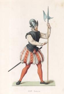 """Валлонcкий солдат, вооружённый алебардой (XVI век) (лист 66 работы Жоржа Дюплесси """"Исторический костюм XVI -- XVIII веков"""", роскошно изданной в Париже в 1867 году)"""