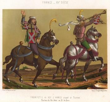 Герольды возвещают о начале рыцарского турнира (из Les arts somptuaires... Париж. 1858 год)