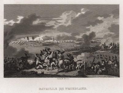 14 июня 1807 г. Сражение под Фридландом (ныне город Правдинск Калининградской области) завершилось полным разгромом русской армии под командованием генерала Бенигсена. J.-M. de Norvins, Histoire de Napoleon, т.3. Париж, 1829