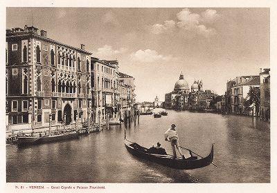 Гранд-канал и палаццо Кавалли-Франкетти в Венеции. Ricordo Di Venezia, 1913 год.