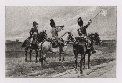 """1807 год. Сигнал к перемирию (парламентёры из 28-го драгунского полка) (иллюстрация к известной работе """"Кавалерия Наполеона"""", изданной в Париже в 1895 году)"""