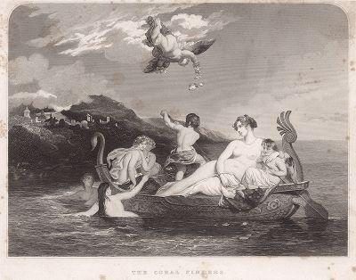 Искатели кораллов: Венера и её юные спутники. Пробный оттиск гравюры по живописному оригиналу Уильяма Этти.