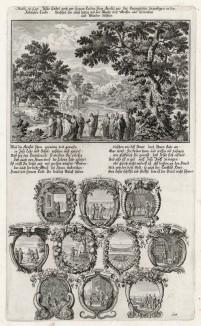 1. Наставление Иисуса Христа апостолам 2. Десять сцен из Евангелия от Матфея (из Biblisches Engel- und Kunstwerk -- шедевра германского барокко. Гравировал неподражаемый Иоганн Ульрих Краусс в Аугсбурге в 1700 году)