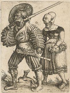 Ландскнехт и маркитантка. Офорт Даниэля Хопфера. Лист из тиража нюрнбергского печатника Давида Функа (XVII век).