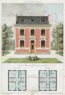 Дом и сад с клумбой в парижском округе Батиньоль-Монсо (из популярного у парижских архитекторов 1880-х Nouvelles maisons de campagne...)