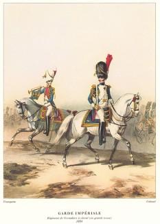 Конные гренадеры армии Наполеона Бонапарта. Репринт середины XX века со старинной французской гравюры