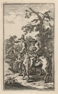 Сэр Гудибрас отправляется в крестовый поход. Пресвитерианский судья, отчаянный поборник пуританства, отправляется в путешествие по стране в сопровождении безбожника оруженосца Ральфо. Иллюстрация к поэме «Гудибрас». Лондон, 1732