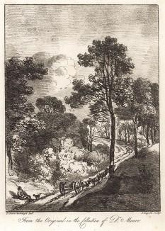 Пейзаж с отдыхающим возницей. Гравюра с рисунка знаменитого английского пейзажиста Томаса Гейнсборо из коллекции британского мецената Т. Монро. A Collection of Prints ...of Tho. Gainsborough, Лондон, 1819.