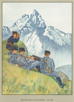 Пулемётный расчет швейцарских горных стрелков во время Первой мировой войны. Notre armée. Женева, 1915