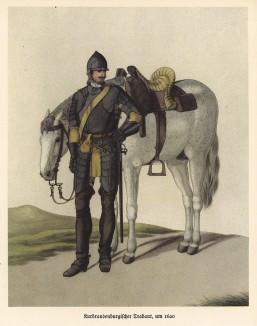 Тяжеловооружённый бранденбургский кавалерист в 1620 году (из популярной в нацистской Германии работы Мартина Лезиуса Das Ehrenkleid des Soldaten... Берлин. 1936 год)