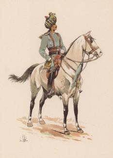 """1890-е гг. Офицер индийской лёгкой кавалерии колониальных войск Британской империи (из """"Иллюстрированной истории верховой езды"""", изданной в Париже в 1893 году)"""