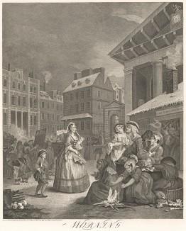Четыре времени суток. Утро, 1738. Жизнь лондонцев ранним утром в районе Ковент Гарден. Пожилая леди спешит на предрассветную мессу, клерк - на службу. В кофейне Тома Кинга с ночи гуляет молодежь. Слева: доктор Рокк показывает фейерверк. Лондон, 1838