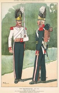 Шведские гренадеры полка Andra в униформе образца 1816-31 гг. Svenska arméns munderingar 1680-1905. Стокгольм, 1911