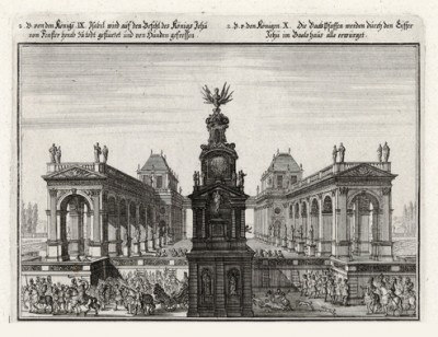 Ииуй расправляется с Иезавелью (из Biblisches Engel- und Kunstwerk -- шедевра германского барокко. Гравировал неподражаемый Иоганн Ульрих Краусс в Аугсбурге в 1700 году)