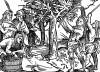 Сбивание плодов с дерева. Иллюстрация Йорга Бреу Старшего к описанию путешествия на восток Лодовико ди Вартема: Ludovico Vartoman / Die Ritterliche Reise. Издал Johann Miller, Аугсбург, 1515