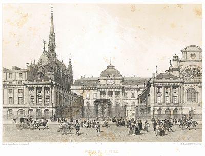 Пале де Жюстис. Вид фасада со стороны Севастопольского бульвара (из работы Paris dans sa splendeur, изданной в Париже в 1860-е годы)