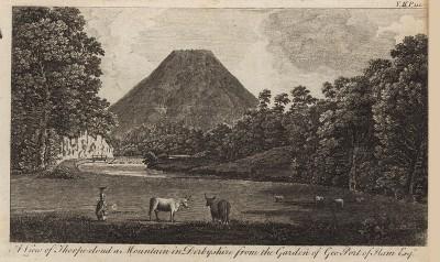 Вид на гору Торп Клауд в графстве Дербишир (из A New Display Of The Beauties Of England... Лондон. 1776 г. Том 2. Лист 110)