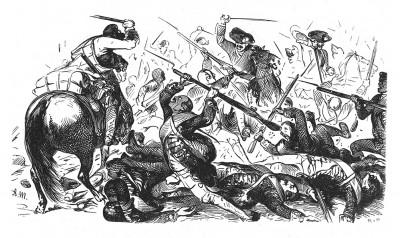 Семилетняя война 1756-1763 гг. Прусская гвардия отражает атаку саксонских драгун в сражении при Колине 18 июня 1757 г., где Фридрих Великий потерпел свое первое поражение. Geschichte Friedrichs des Grossen von F.Kugler. Лейпциг, 1842, с.325