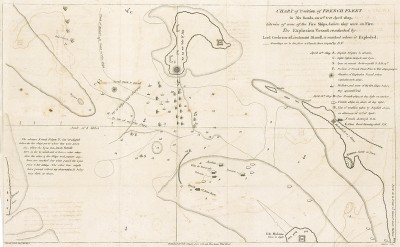 Бой на Баскском рейде -- сражение периода наполеоновских войн в Бискайском заливе 11-12 апреля 1808 года. План боя с указанием местоположения кораблей Томаса Кокрейна.