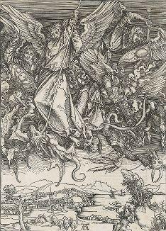 Битва Архангела Михаила с драконом. Лист из сюиты «Апокалипсис» Альбрехта Дюрера, латинское издание 1511 года.