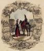 Французские части снабжения, а также 8 миниатюр из жизни обоза в разные военные кампании (внизу: отступление из Москвы) (из Esquisses historiques... de l'armée francaise генерала Амбера. Брюссель. 1841 год)