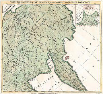 Часть Якутского уезда и большая часть Камчатки. Atlas Russicus mappa una generali ... Petropolitanae, Санкт-Петербург, 1745.