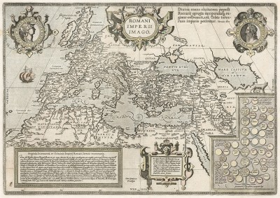 Карта Римской империи. Romani Imperii Imago. Составил Абрахам Ортелиус. Антверпен, 1587