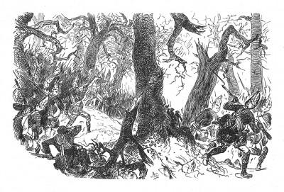 Семилетняя война 1756-1763 гг. Прусские гренадеры в битве при Торгау 3 ноября 1760 года - последнем крупном сражении Семилетней войны. Илл. Адольфа Менцеля. Geschichte Friedrichs des Grossen von Franz Kugler. Лейпциг, 1842, с.465